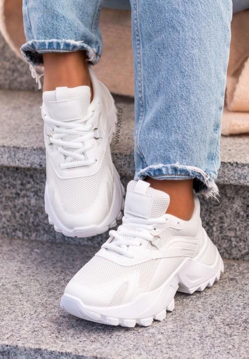 Trampki Sneakersy Sieteczkowe Białe Lonely