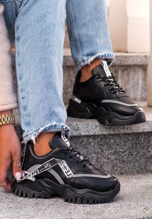 Trampki Sneakersy z Tasiemką Czarne Life