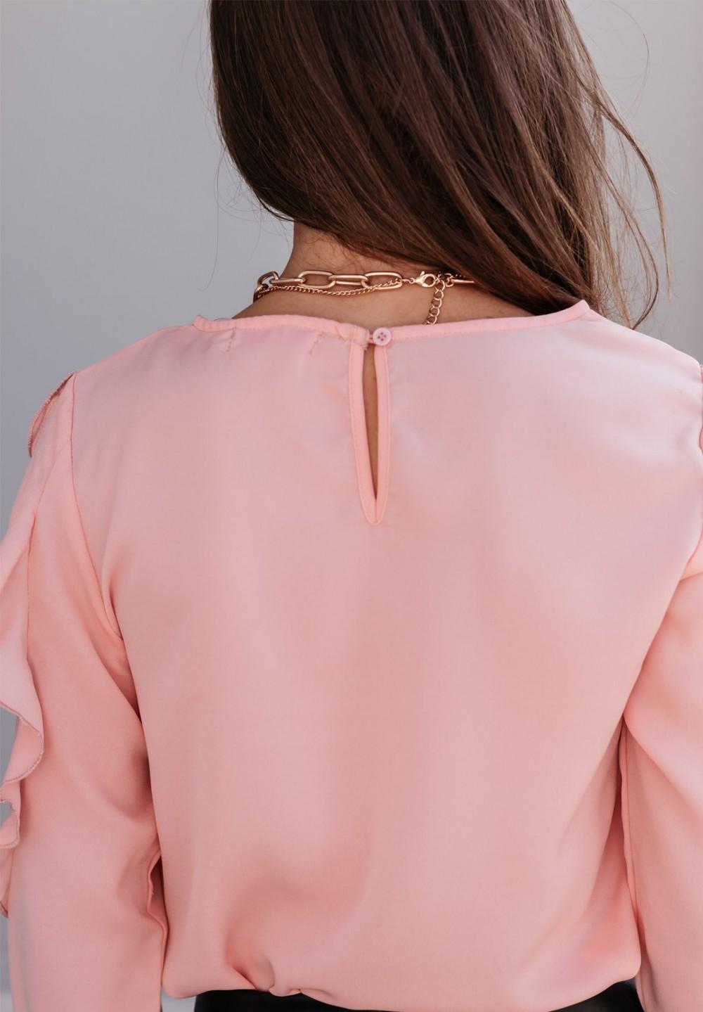 Bluzka Długi Rękaw z Falbankami Różowa Katia