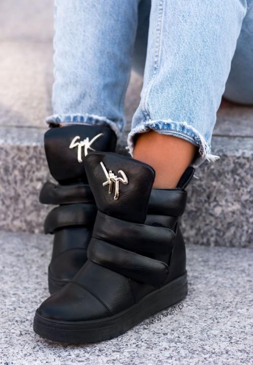 Sneakersy Na Koturnie Ozdobna Klamra Czarne Lucja