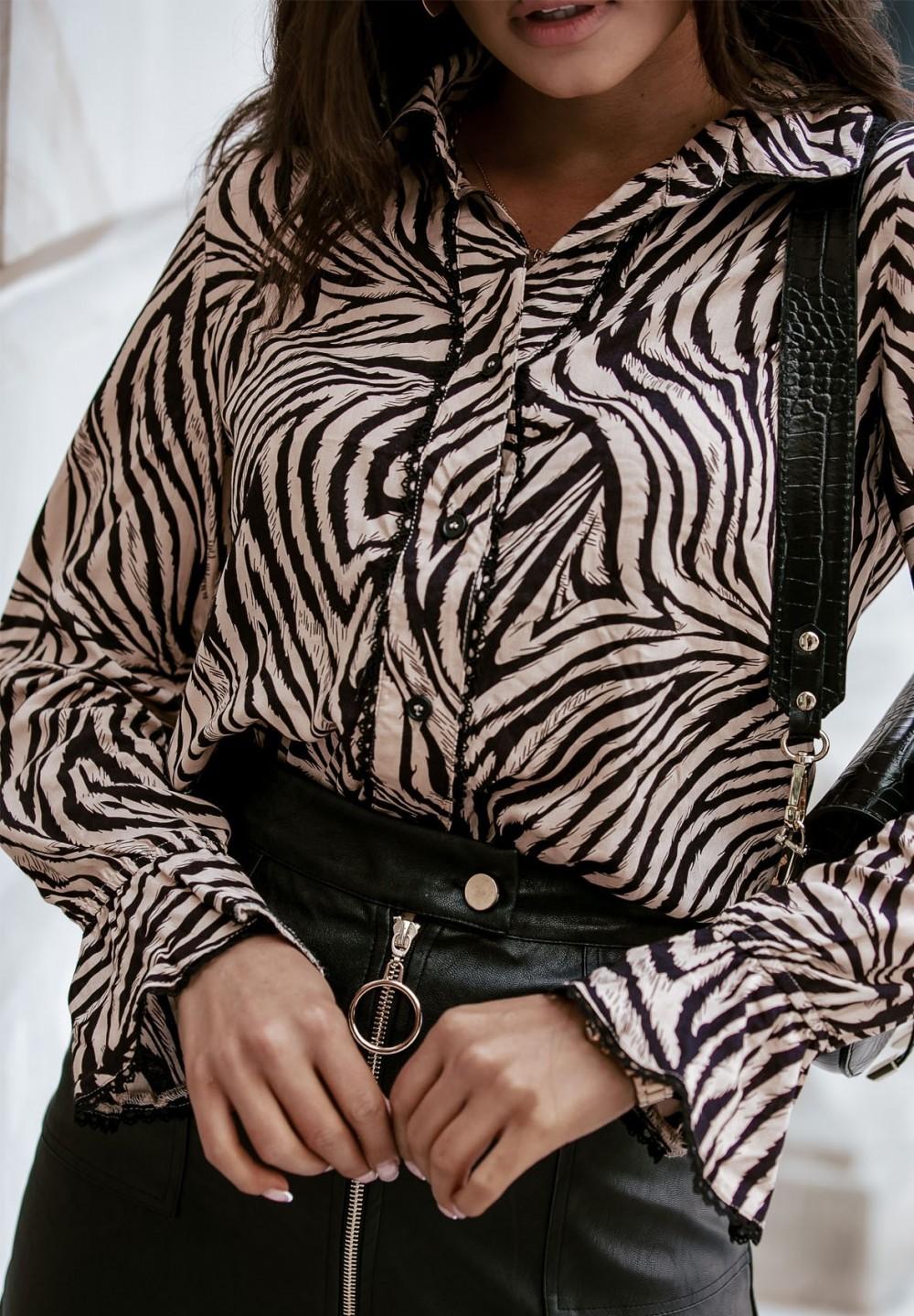 Bluzka Koszulowa z Kołnierzykiem Beżowo Czarna Ina