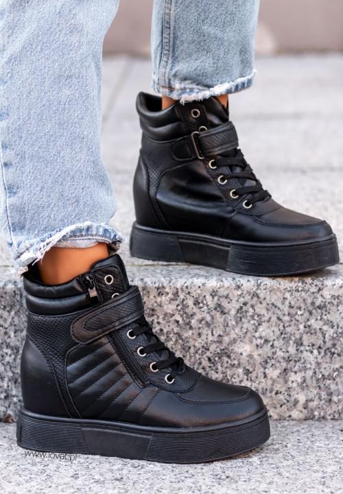 Trampki Sneakersy Wysokie Croco Czarne Louna