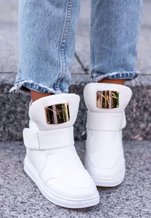 Trampki Sneakersy Wysokie na Koturnie Croco Białe Madnes