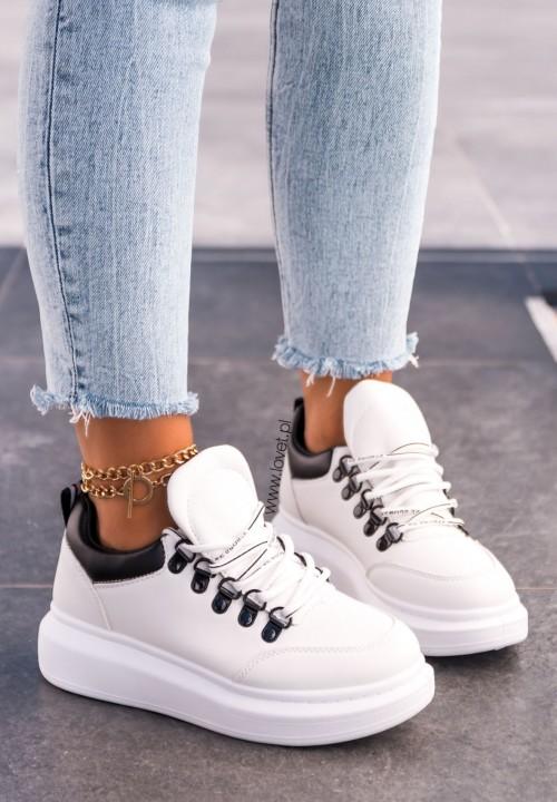 Trampki Sneakersy Białe Basett