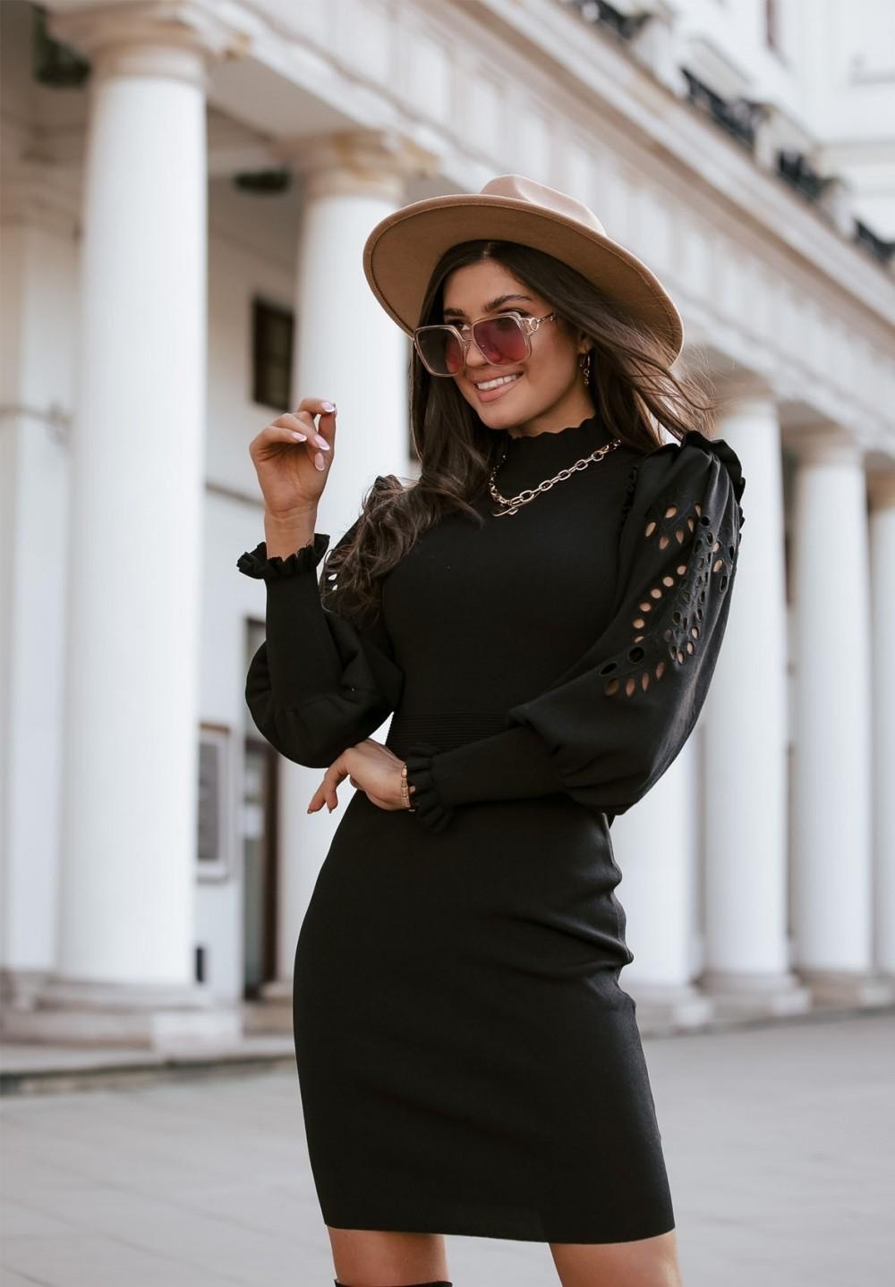 Sukienka Czarna Bandażowa Sabrina