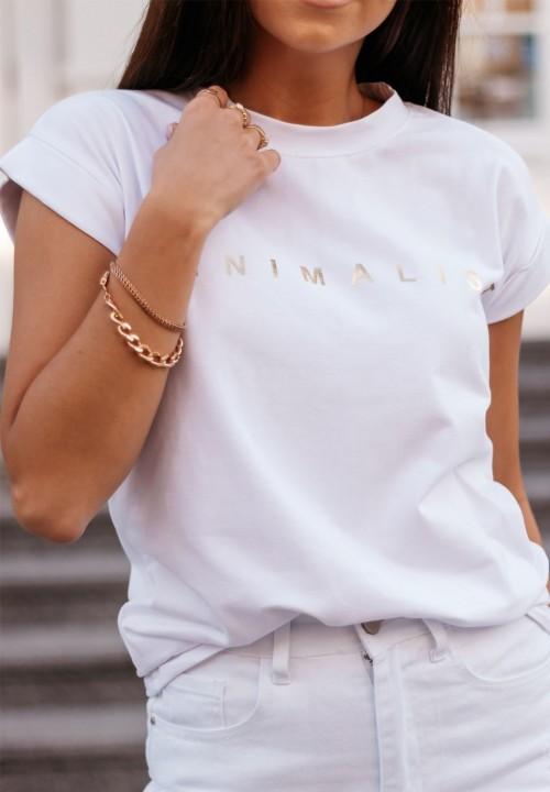 T-Shirt ze Złotym Napisem Biały Minimal
