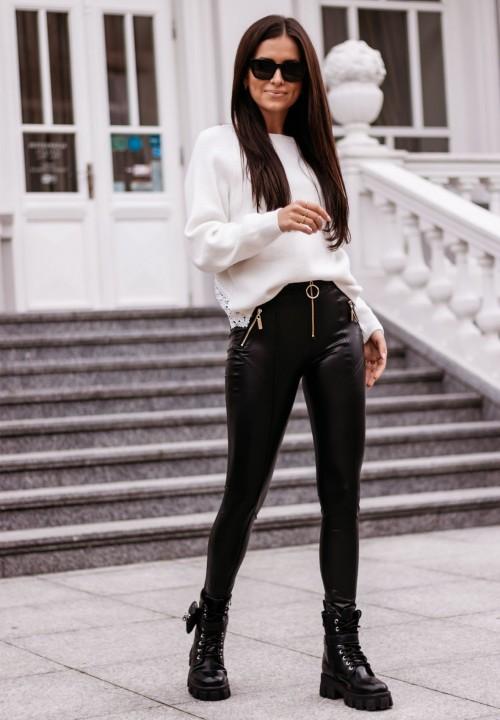 Spodnie Rurki Skórzane Czarne Everly