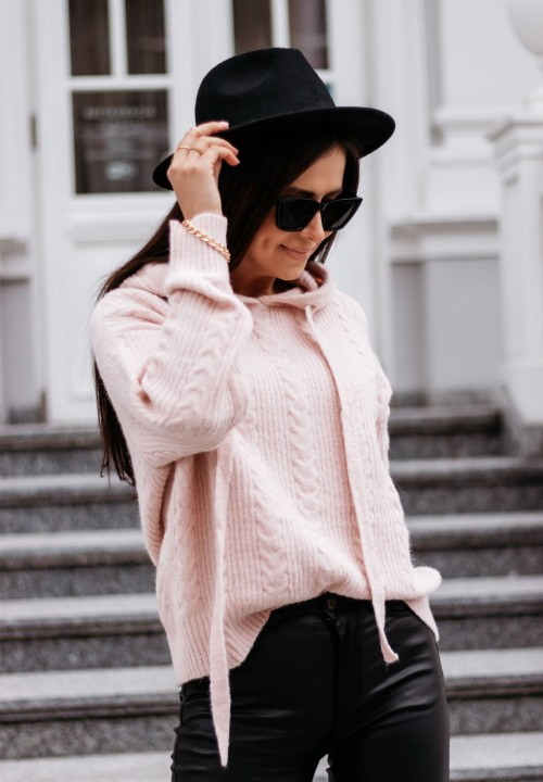 Sweter z Kapturem Różowy Vivienne