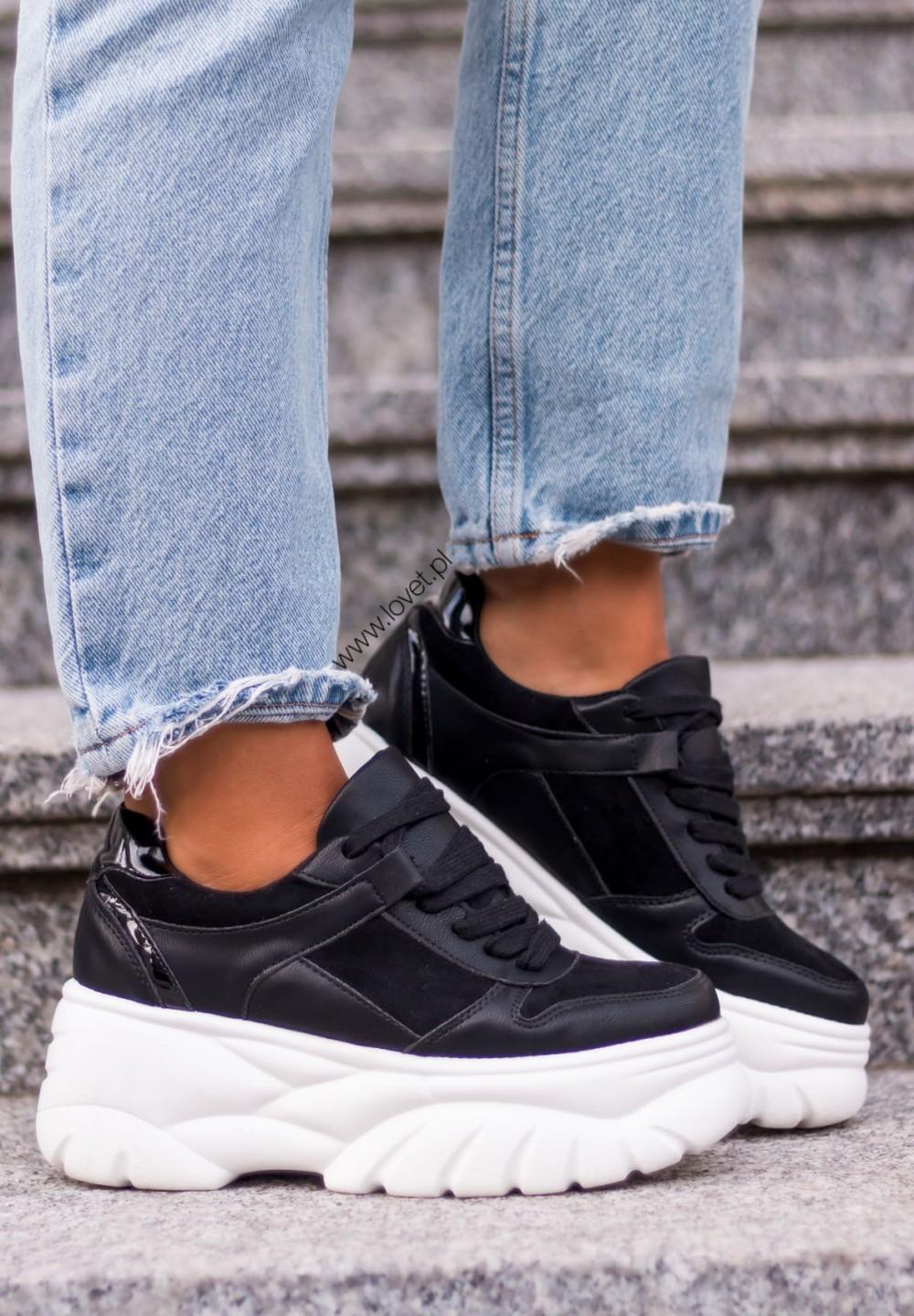 Zamszowe Czarne Trampki Sneakersy Keygo