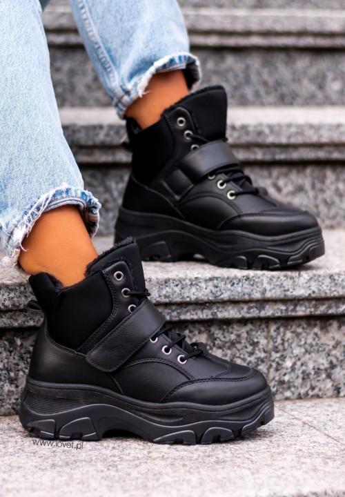 Czarne Wysokie Trampki Sneakersy Bertie