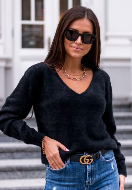 Sweter z Koronką Czarny Leonora
