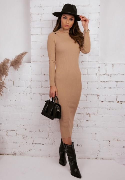 Sukienka Prążkowana Beżowa Tone