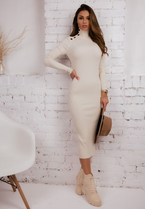 Sukienka Prążkowana Kremowa Tone
