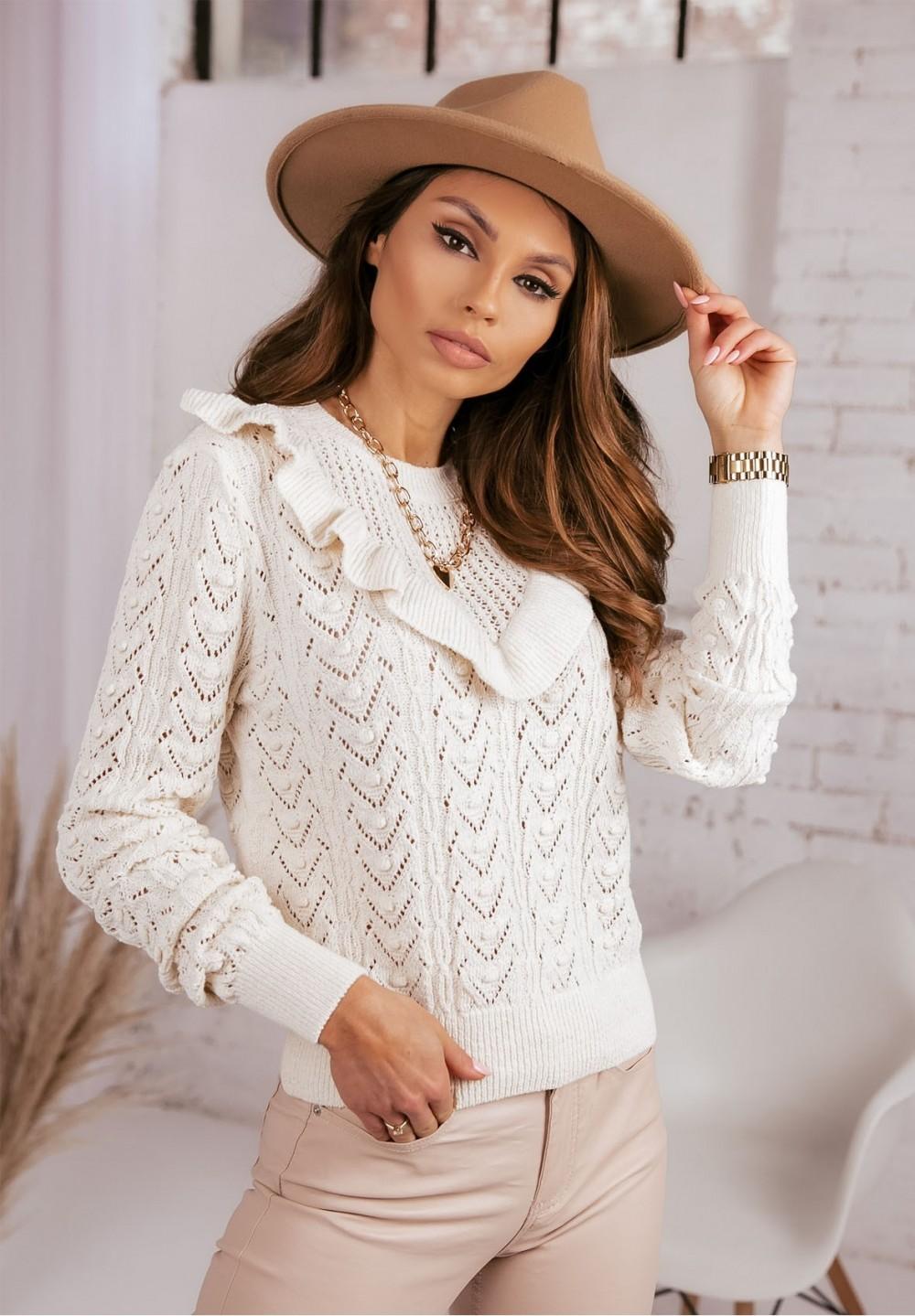 Kremowy Ażurkowy Sweter z Falbanką Finlay