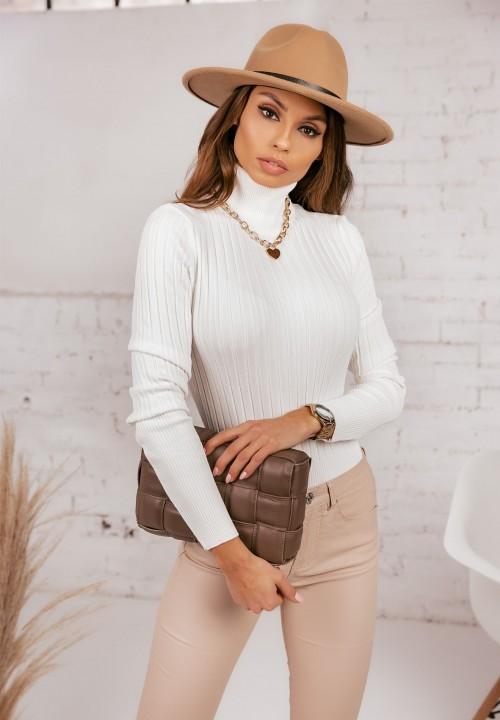 Sweter Prążkowany Kremowy Leonie