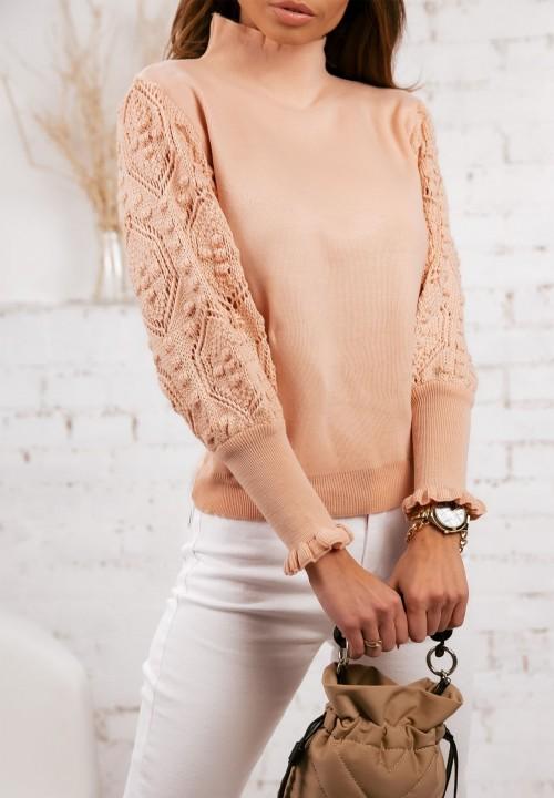 Sweterek Ażurowe Rękawy Różowy Simona
