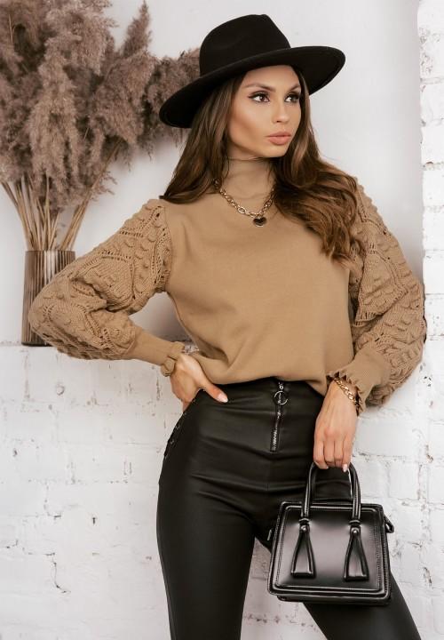 Sweter Ażurowe Rękawy Brązowy Simona