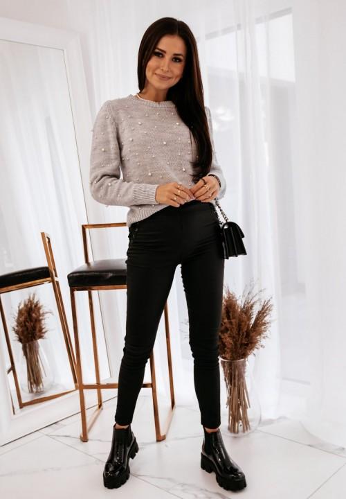 Sweter z Perełkami Szary Pearl