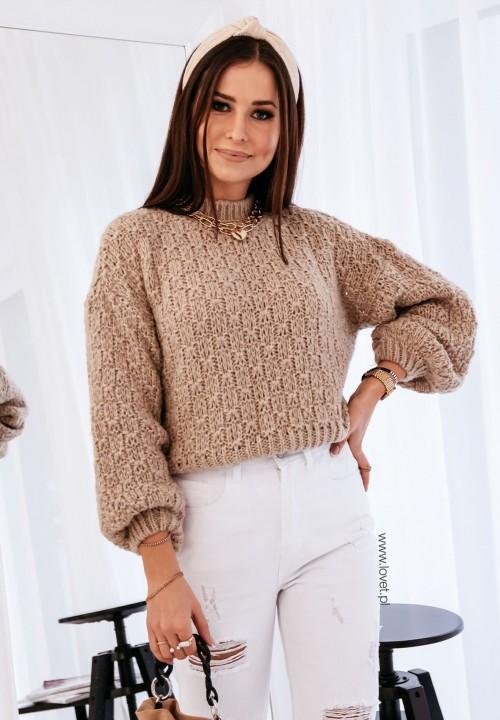 Sweterek Ażurkowy Beżowy Sophia