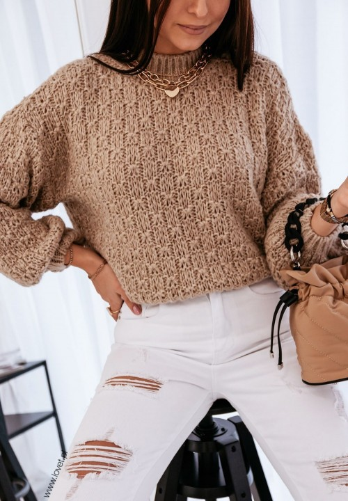 Beżowy Sweterek Ażurkowy Sophia