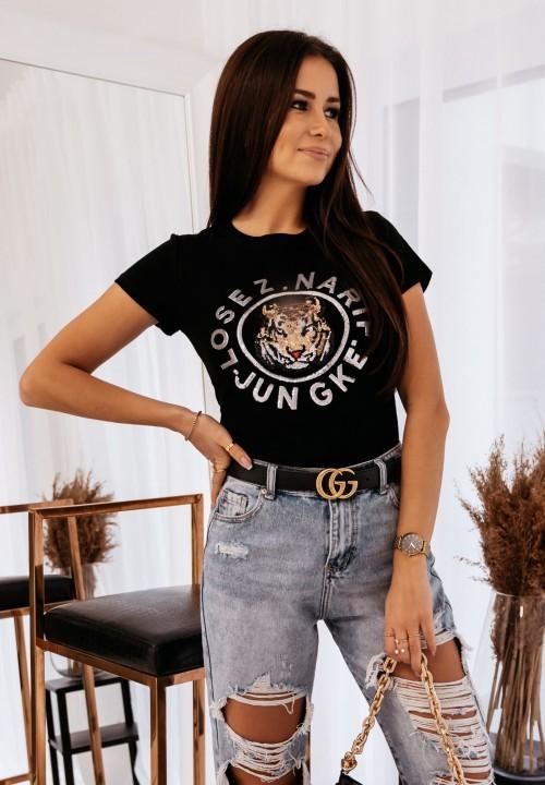 T-shirt Czarny Tiger