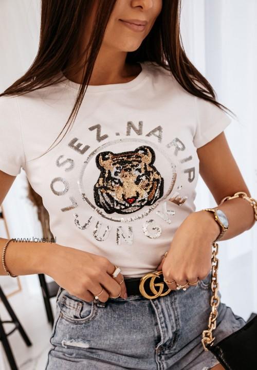 T-shirt Biały Tiger