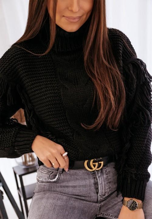 Sweter z Frędzlami Czarny Amira