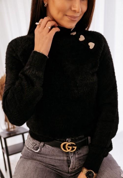 Czarny Sweter z Guzkiami Aneline