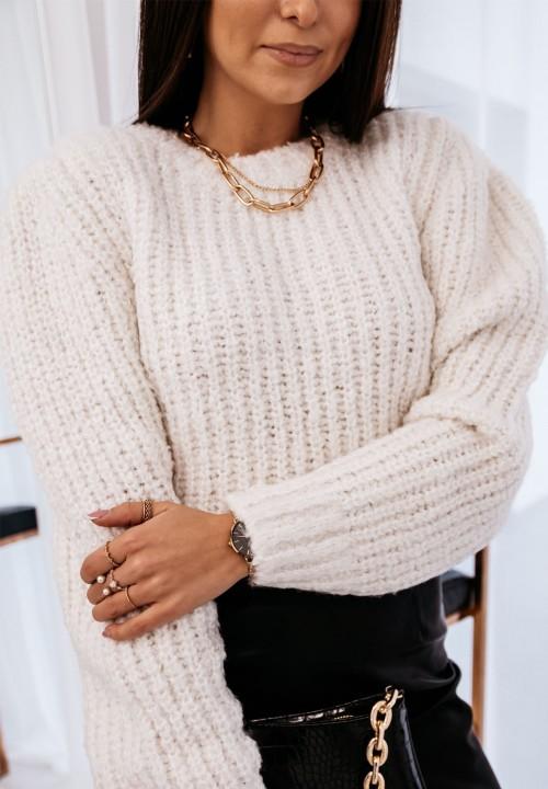 Sweter Biały Klasyczny Magnus