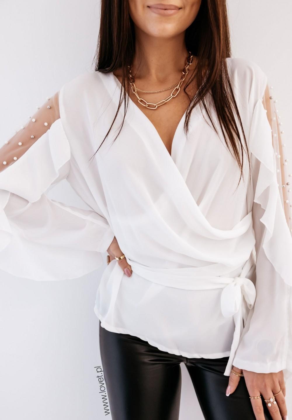 Biała Bluzka z Perełkami Casin