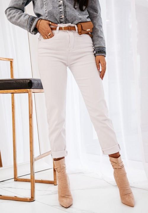 Spodnie Rurki Zasuwane Białe Soleo