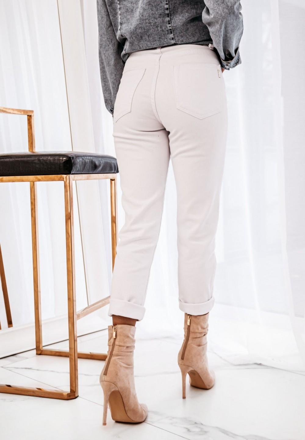 Białe Spodnie Rurki Zasuwane Soleo