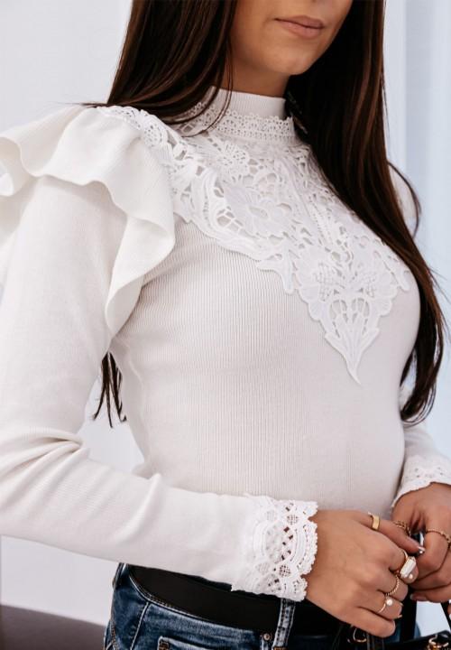 Sweter z Koronką Kremowy Randi
