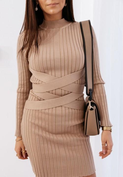 Sukienka Prążkowana z Paskami Beżowa Venusia