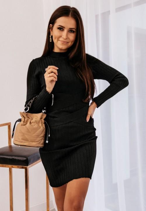 Sukienka Prążkowana z Paskami Czarna Venusia