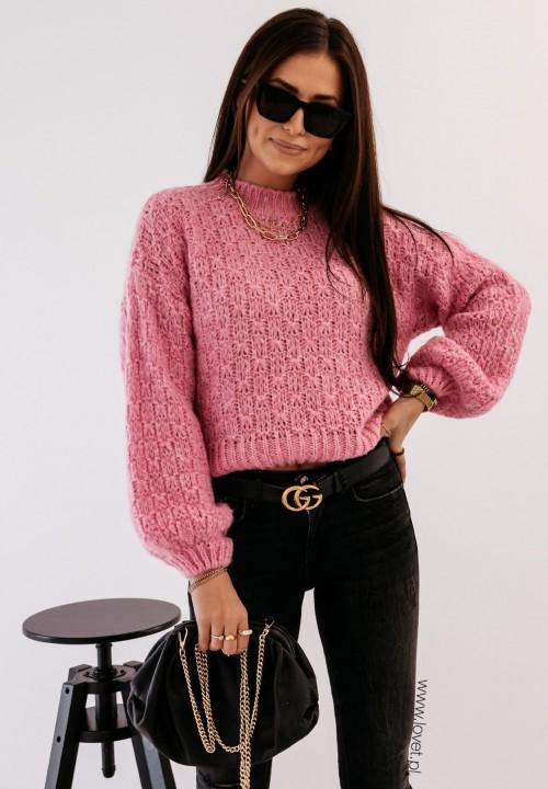 Sweterek Ażurkowy Różowy Sophia