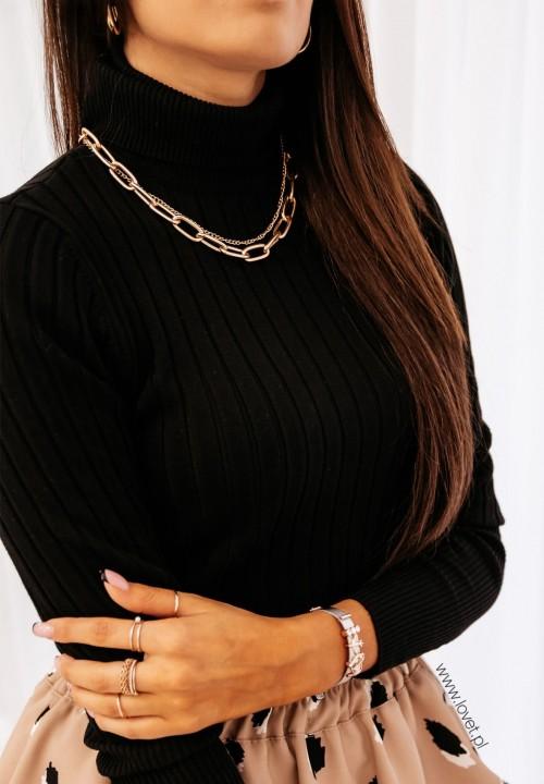 Sweterek Prążkowany Czarny Leonie