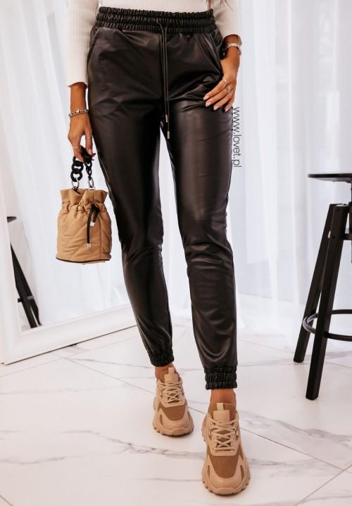 Spodnie ze Ściągaczami Skórzane Czarne Lionel