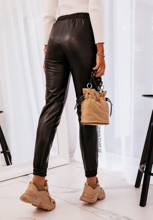 Czarne Skórzane Spodnie ze Ściągaczami Lionel