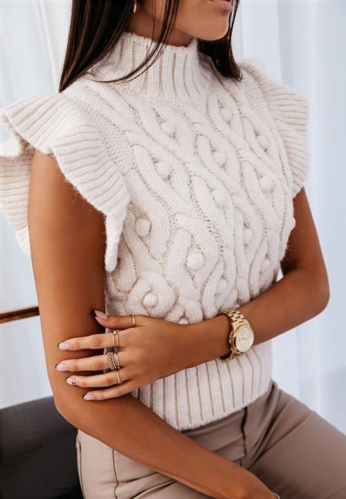 Sweterek Bez Rękawów Kremowy Lilou
