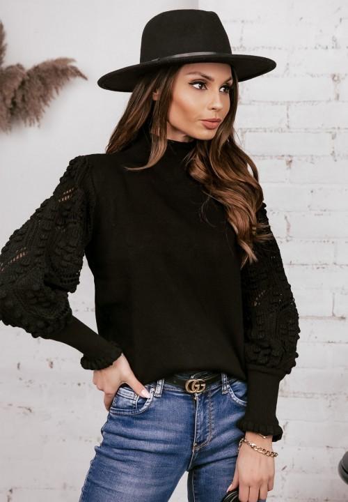Sweter Ażurowe Rękawy Czarny Simona