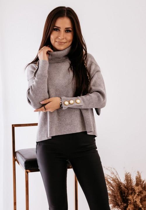 Sweter z Ozdobnymi Guzikami Szary Elin