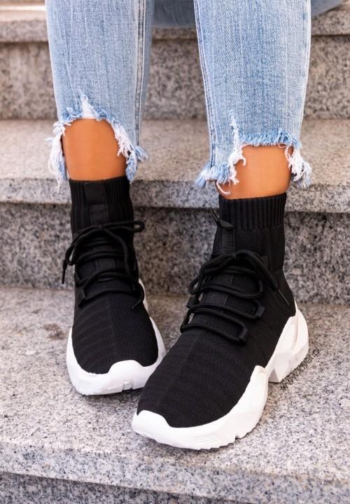 Trampki Sneakersy Wysokie Czarne Michaela