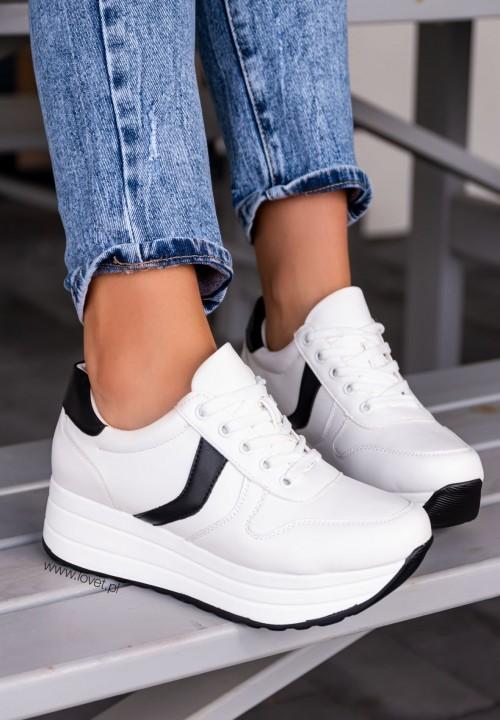 Trampki Sneakersy Biało-Czarne Malesia
