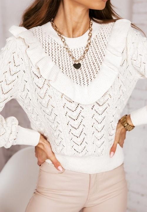Kremowy Ażurowy Sweterek z Falbanką Finlay