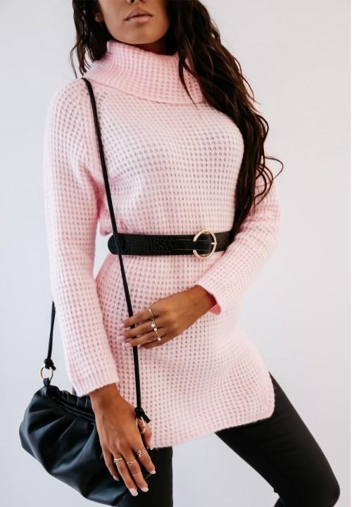 Różowy Długi Sweter z Golfem Sorena