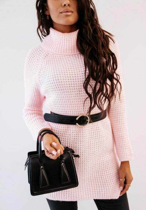 Sweter z Golfem Długi Różowy Sorena