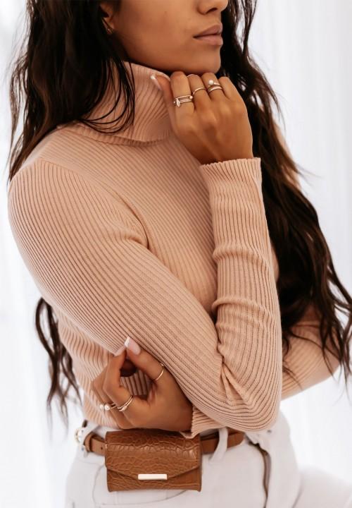 Sweter Różowy Prążkowany Scarlette