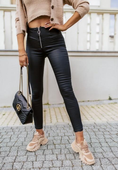Spodnie Woskowane Czarne Felines