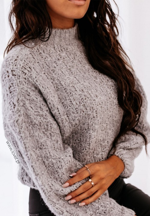 Szary Sweterek Ażurkowy Sophia